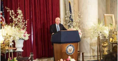 Senator John McCain, Chairman, Senate Armed Services Committee at Iranian New Year (Nowruz) Luncheon in Senate Kennedy Caucus Room, organized by Organization of Iranian American Communities-US (OIAC) on March 15, 2017.