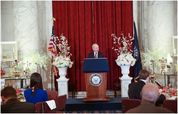 Senator Joe Lieberman is speaking at Iranian New Year (Nowruz) Luncheon in Senate Kennedy Caucus Room, organized by Organization of Iranian American Communities-US (OIAC) on March 15, 2017.