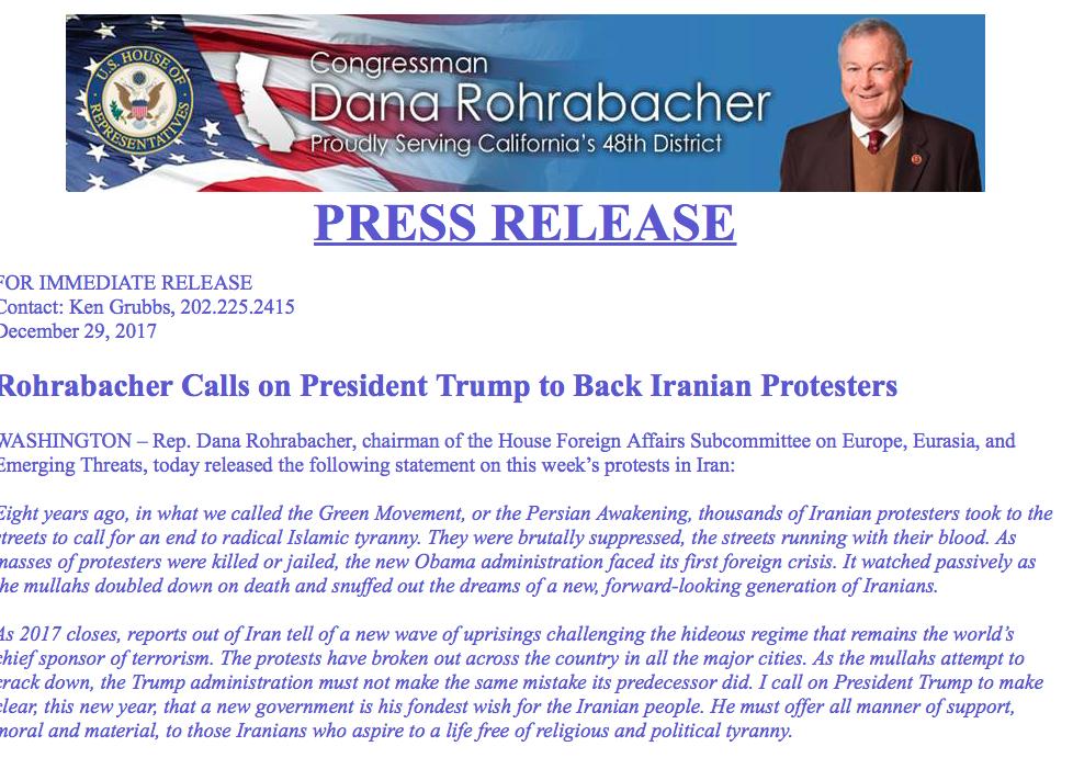 Press Release By Dana Rohrabacher